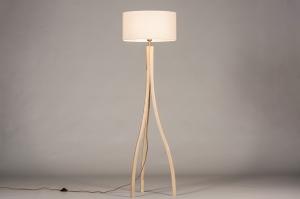 vloerlamp 31049 landelijk rustiek modern hout licht hout stof wit hout rond