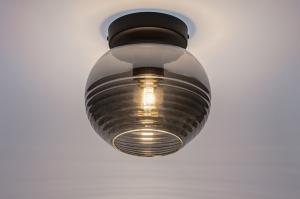 plafondlamp 31050 landelijk rustiek modern retro eigentijds klassiek glas metaal zwart mat grijs rond