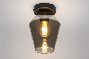 plafondlamp 31051 modern retro eigentijds klassiek glas metaal zwart mat grijs rond