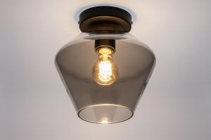 plafondlamp 31052 landelijk rustiek modern retro eigentijds klassiek glas metaal zwart mat grijs rond