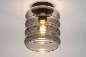 plafondlamp 31053 modern retro eigentijds klassiek glas metaal zwart mat grijs rond