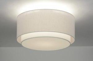 plafondlamp 31054 landelijk rustiek modern retro eigentijds klassiek stof wit rond