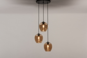 hanglamp 31055 landelijk rustiek modern eigentijds klassiek glas metaal zwart mat geel rond