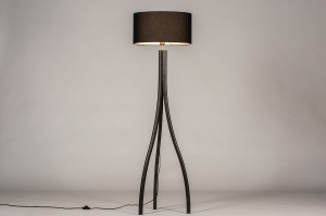 vloerlamp 31056 design modern eigentijds klassiek hout stof zwart mat rond