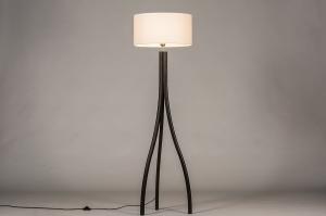 vloerlamp 31057 design modern hout stof zwart mat wit rond