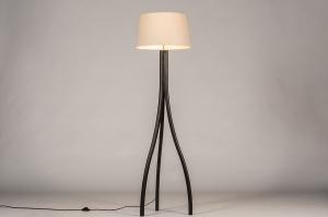 vloerlamp 31058 landelijk rustiek modern hout stof zwart mat beige zand rond