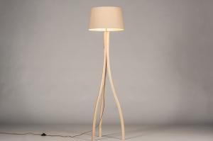 vloerlamp 31059 landelijk rustiek modern hout licht hout stof beige hout zand rond