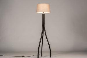 vloerlamp 31060 landelijk rustiek modern eigentijds klassiek hout stof zwart mat taupe rond