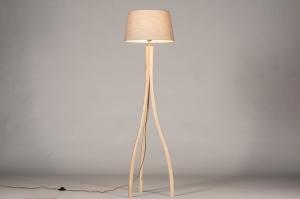 vloerlamp 31061 landelijk rustiek modern hout licht hout stof hout taupe rond