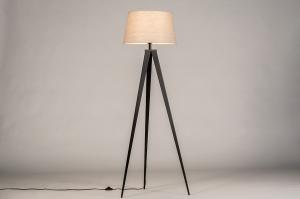 vloerlamp 31062 design modern stof metaal zwart taupe rond
