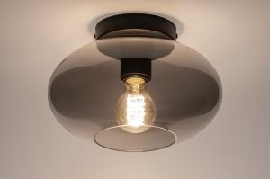 plafondlamp 31063 modern retro eigentijds klassiek glas metaal zwart mat grijs rond