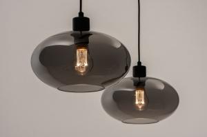 hanglamp 31064 modern retro eigentijds klassiek glas metaal zwart mat grijs rond langwerpig