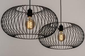 hanglamp 31065 industrie look landelijk rustiek modern metaal zwart mat rond langwerpig