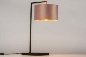 tafellamp 31068 landelijk modern eigentijds klassiek stof metaal zwart mat goud roze rond rechthoekig