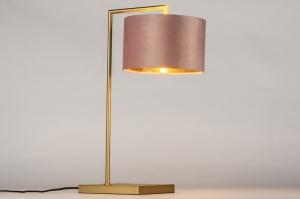 tafellamp 31070 modern eigentijds klassiek messing stof goud roze koper messing rond rechthoekig