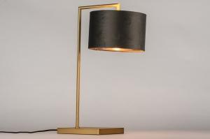 tafellamp 31073 modern eigentijds klassiek messing stof grijs goud zilver  oud zilver messing rond