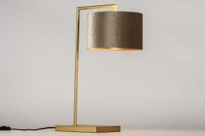 tafellamp 31076 modern eigentijds klassiek messing stof metaal goud koper messing taupe rond rechthoekig