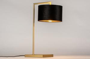 tafellamp 31079 modern klassiek eigentijds klassiek messing stof zwart goud messing rond rechthoekig