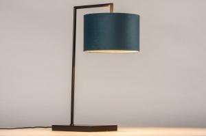 tafellamp 31080 landelijk rustiek modern eigentijds klassiek stof metaal zwart mat blauw petrol rond rechthoekig