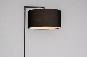 vloerlamp 31081 landelijk rustiek modern eigentijds klassiek stof metaal zwart mat rond rechthoekig