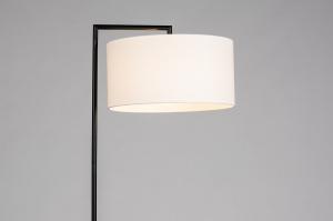 vloerlamp 31082 landelijk rustiek modern eigentijds klassiek stof metaal zwart mat wit rond rechthoekig