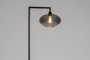 vloerlamp 31083 design modern retro eigentijds klassiek glas metaal zwart mat grijs rond rechthoekig