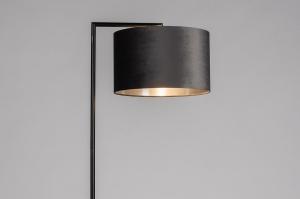 vloerlamp 31085 landelijk rustiek modern eigentijds klassiek stof metaal zwart mat zilver  oud zilver antraciet donkergrijs rond rechthoekig