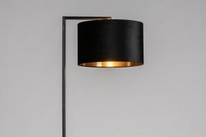 vloerlamp 31087 landelijk rustiek modern eigentijds klassiek stof metaal zwart mat goud rond rechthoekig