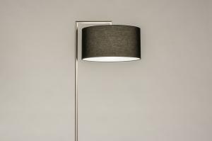 vloerlamp 31088 landelijk rustiek modern eigentijds klassiek staal rvs stof metaal zwart mat staalgrijs rond rechthoekig