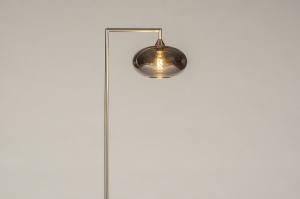 vloerlamp 31090 design modern retro eigentijds klassiek glas staal rvs metaal grijs staalgrijs rond rechthoekig