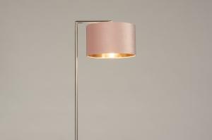 vloerlamp 31091 modern eigentijds klassiek staal rvs stof metaal roze koper staalgrijs rond rechthoekig