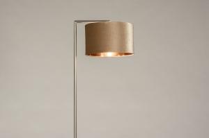 vloerlamp 31093 modern eigentijds klassiek staal rvs stof metaal koper roodkoper staalgrijs taupe rond rechthoekig