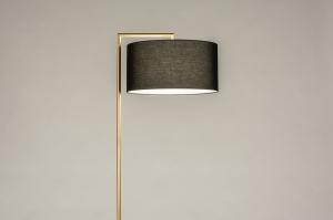 vloerlamp 31095 modern klassiek eigentijds klassiek art deco messing geschuurd stof metaal zwart wit goud messing rond rechthoekig
