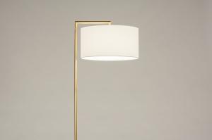 vloerlamp 31096 modern klassiek eigentijds klassiek art deco messing geschuurd stof metaal wit mat goud messing rond rechthoekig