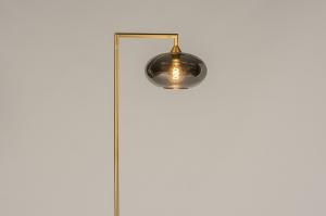 vloerlamp 31097 design modern retro eigentijds klassiek glas messing geschuurd metaal grijs messing rond rechthoekig