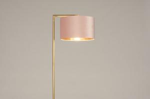 vloerlamp 31098 modern klassiek eigentijds klassiek art deco messing geschuurd stof metaal goud roze koper messing rond rechthoekig