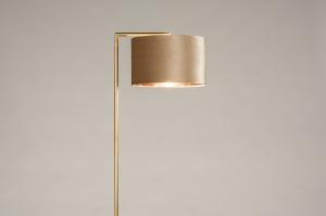 vloerlamp 31100 modern klassiek eigentijds klassiek art deco messing geschuurd stof metaal goud messing taupe rond rechthoekig