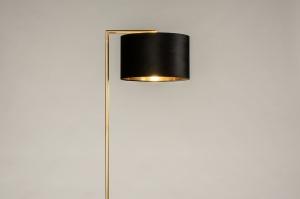 vloerlamp 31101 modern klassiek eigentijds klassiek art deco messing geschuurd stof metaal zwart goud messing rond rechthoekig