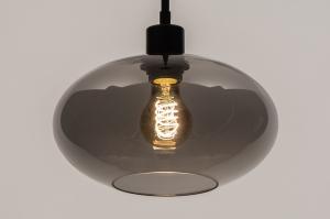 hanglamp 31102 modern retro eigentijds klassiek glas metaal zwart mat grijs rond