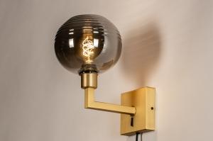wandlamp 31110 modern retro klassiek eigentijds klassiek glas messing metaal grijs goud messing vierkant