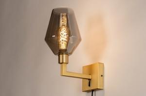 wandlamp 31111 modern retro klassiek eigentijds klassiek glas messing metaal grijs goud messing rond vierkant