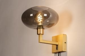 wandlamp 31112 modern retro klassiek eigentijds klassiek glas messing metaal grijs goud messing vierkant