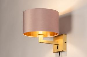 wandlamp 31113 modern klassiek eigentijds klassiek messing stof metaal goud roze messing rond vierkant