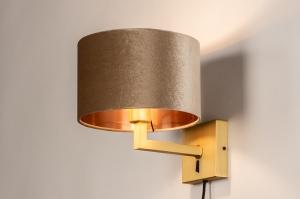 wandlamp 31115 landelijk rustiek modern klassiek eigentijds klassiek messing stof metaal goud koper messing taupe rond vierkant