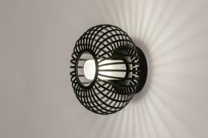 wandlamp 31118 modern retro glas wit opaalglas metaal zwart mat rond