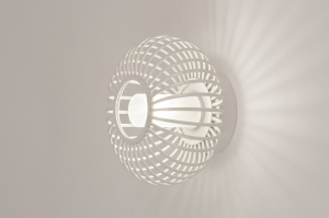 wandlamp 31119 landelijk rustiek modern retro glas wit opaalglas metaal wit mat rond