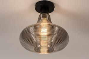 plafondlamp 31120 modern retro eigentijds klassiek glas metaal zwart mat grijs rond