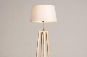 vloerlamp 31126 landelijk modern hout licht hout stof wit naturel