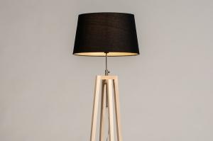 vloerlamp 31127 landelijk modern hout licht hout stof zwart naturel