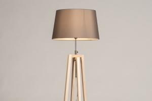 vloerlamp 31128 landelijk modern hout licht hout stof grijs naturel